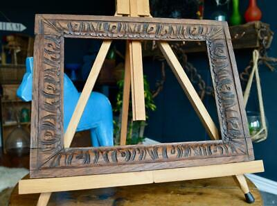 "Superb Antique Carved Oak Picture Frame 11"" X 8.25"" Rebate Arts & Crafts Nouveau"
