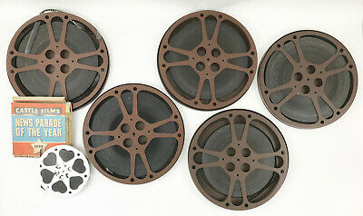 Lot of 6 Vintage 16MM Black & White Movies and Large Canisters  Castle Films