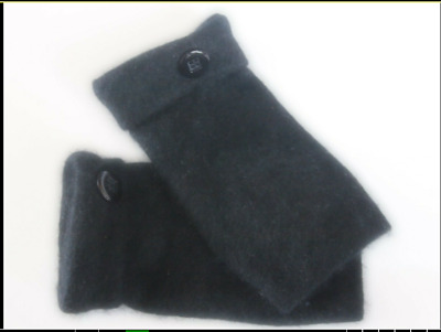 Fingerless Gloves Black 100% Cashmere Women's  Size Small S Texting Goth