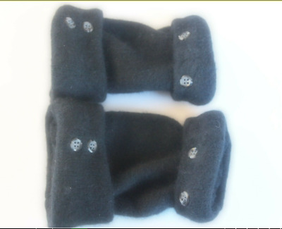 Fingerless Gloves Women's Black Angora Wool Size Medium - Large M - L Goth Gift