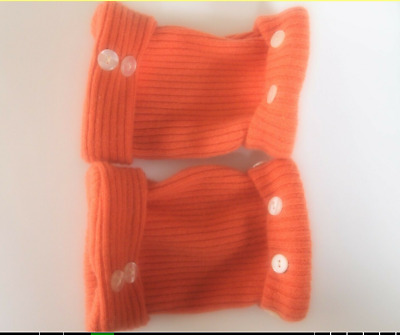 Fingerless Gloves Women's Orange 100% Cashmere One Size Fits Most S M L Texting