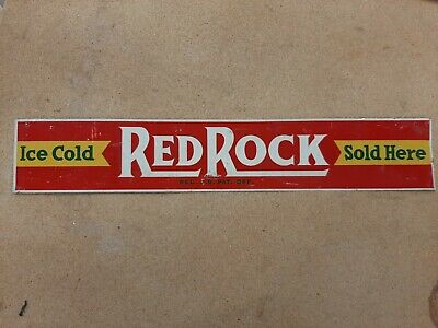 Ice Cold Red Rock Cola Sold Here Metal Tin Tacker Sign Soda Pop Cafe Diner Rt 66