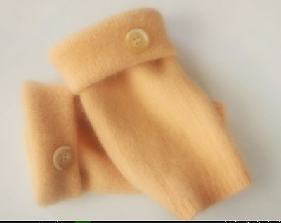 Fingerless Gloves Yellow Angora Wool Women's Size Small - Medium S - M Texting