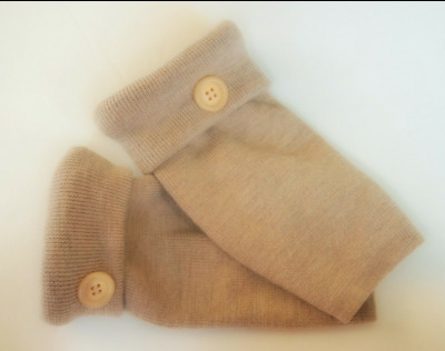 Fingerless Gloves Camel Tan 100% Merino Wool One Size Fits Most S M L Texting