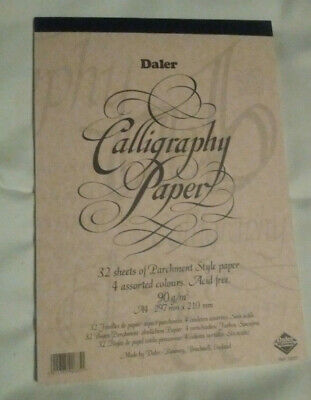Daler Rowney Calligraphy Paper - new -  32 sheets - A4 assorted colours