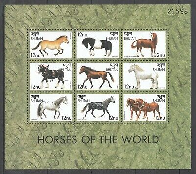 Pk033 Bhutan Fauna Farm Animals Horses Of The World 1Kb Mnh Stamps