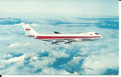Vintage Postcard - TWA Trans World Airlines Airplane over Clouds Mountains