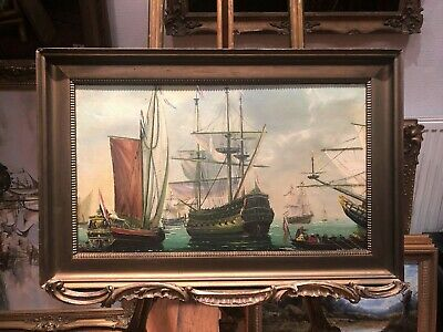 OIL PAINTING Early 20th CENTURY(DUTCH NAVY ADMIRALTY) MARITIME WAR PIECE MASTER
