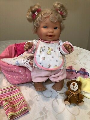 "Berenguer 10"" Baby Toddler Doll Lots to Love Baby Steps Leila & Clothes Carrier"