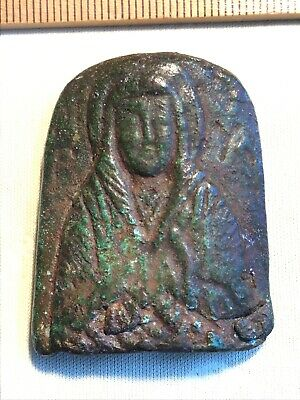 MARY with Shroud = BRONZE Personal ICON BYZANTINE =- Eastern ROMAN C. 400-900AD