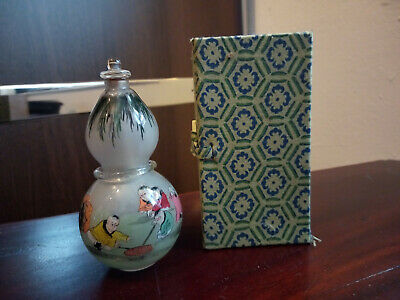 Vintage Chinese Reverse Painted Glass Double Gourd Snuff Bottle with Ring