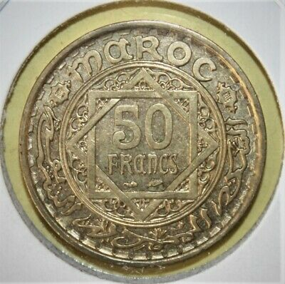 Morocco 50 Francs AH1371 (1952) Brilliant Uncirculated Brass Coin