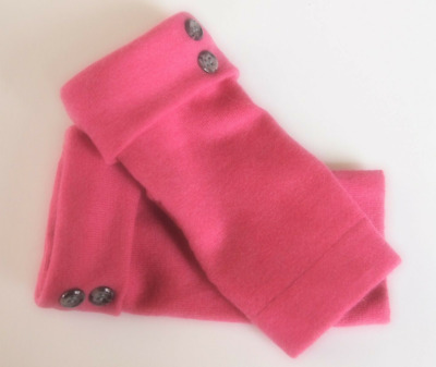 Fingerless Gloves Pink Women's 100% Merino Wool Size Xs Extra-Small Texting