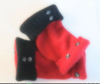Fingerless Gloves Red Black Women's Cashmere Wool One Size Fits Most S M L Text