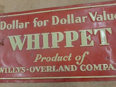1930s Vintage Whippet Willys Overland Embossed Tacker Sign Jeep Truck Car Dog