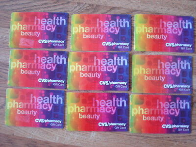 CVS Pharmacy Gift Card Memorabilia Collectible, Colorful. No $ Value. Lot of 9