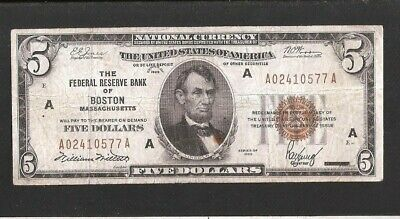 Solid A Block 1929 $5 National Currency Note Boston