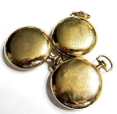 158G Bulk Lot - Gold Filled Pocket Watch Cases - 18S - Use Or Scrap (K1)