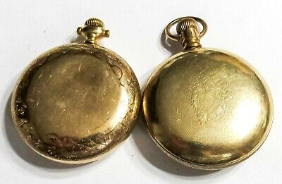 110G Lot Of 2 - Gold Filled Pocket Watch Cases - 18S - Use Or Scrap (K2)