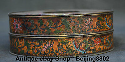 """6""""Old China Copper Painting Dynasty Round Plum Blossom Flower Casket Jewelry Box"""