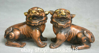 "5.6"" Old Chinese Copper Feng Shui Foo Dog Lion Beast Lucky Statue Sculpture"