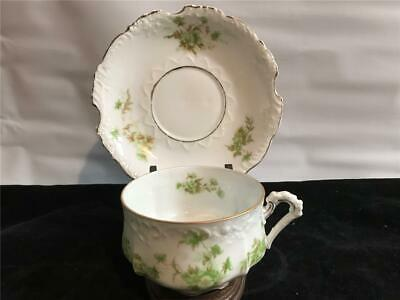 Eglantine Cup & Saucer Green Floral Design Germany