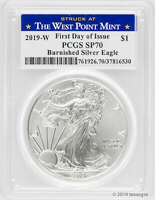 2019-W $1 Silver Eagle SP70 - First Day of Issue - West Point Label