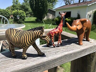 LOT of 3 Wooden Animal Figurines AFRICAN ART KENYA Elephant Giraffe & Zebra