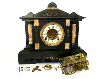 Antique Ansonia American Marble 8 Day Visible Escapement Mantle Clock
