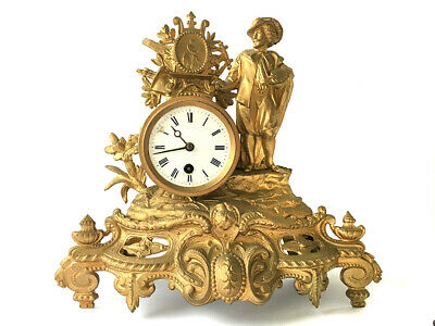 Lovely Antique French Gilt Metal Figural 8 Day Mantle Clock