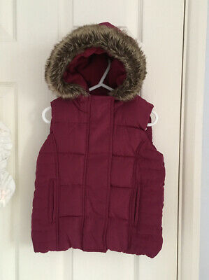 Girls MARKS & SPENCER Berry Burgundy Red Gilet Hooded 2-3 Years GREAT CONDITION