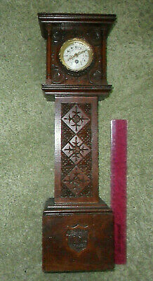 Antique hand carved wood wooden miniature grandfather clock 1892 mahogany tlc