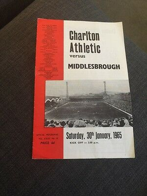 Charlton V Middlesbrough 1965 FA Cup Soccer/football Programme