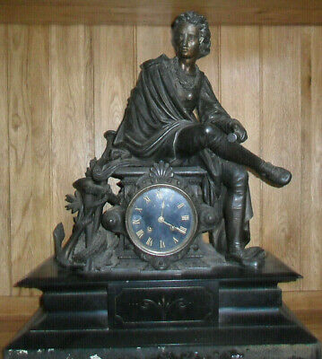 Antique Victorian monumental figural black slate huge clock Japy freres movement