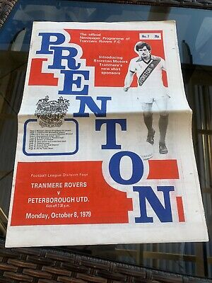 Tranmere Rovers V Peterborough United 1979 Soccer/football Programme