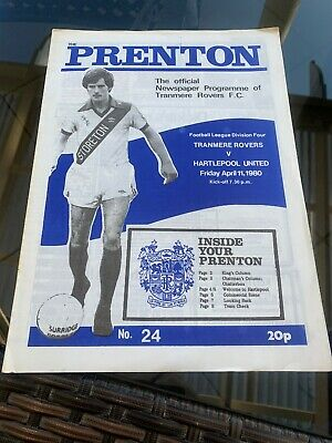 Tranmere Rovers V Hartlepool United 1980 Soccer/football Programme