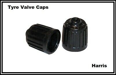 TYRE VALVE CAPS | BLACK PLASTIC DUST COVERS | UNIVERSAL VALVE CAPS | 100 pcs