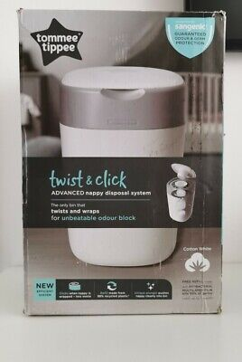 Tommee Tippee Twist And Click Advanced Nappy Disposal Sangenic Tec Bin White New