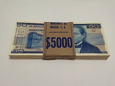 1981 Mexico Lot (100) Notes $ 50  Pesos Mexican Banknotes UNC Serie LS