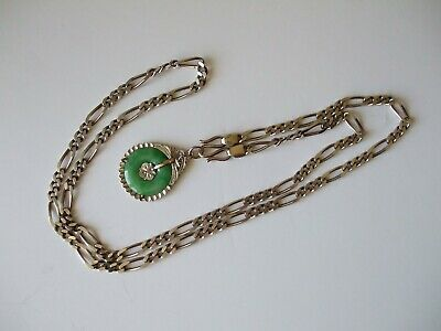 Vintage Chinese Hard Jade Pendant and 925 Solid Silver Necklace c1960