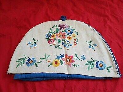 Vintage Embroidered Floral Tea Cosy