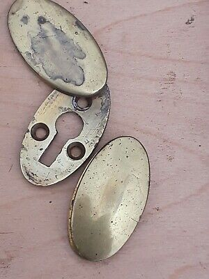 Antique Brass Door Escutcheons A Pair.
