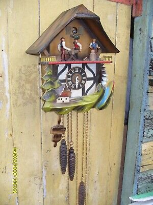 Cuckoo Clock Moving Men & Water Wheel Musical Clock