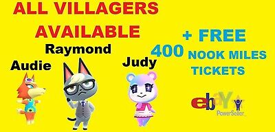 Animal Crossing New Horizons All Villager Available Raymond Audie Judy + 400 NMT