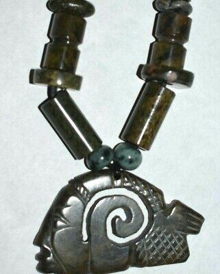 "Sale!! Pre Columbian Mayan Jade Necklace, 14"" Prov"