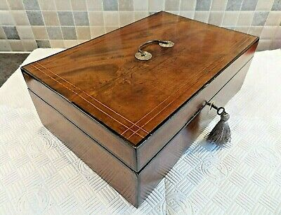 Victorian Inlaid Walnut Box With Carry Handle - Relined Interior - Lock & Key