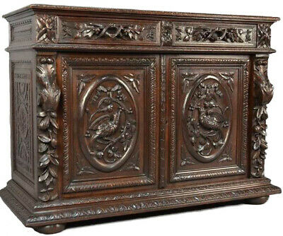 19th c. Antique French 1870's Louis XIII, Heavily Carved Solid Oak Hunt Buffet