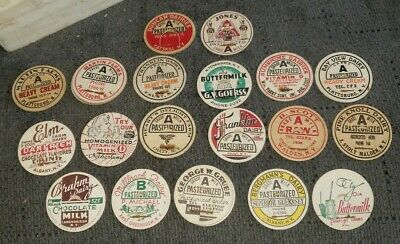 Lot Of 23 Antique Vintage Super Rare NY Dairy Milk Bottle Advertising Caps Tops