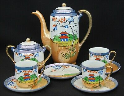 Beautiful Antique Japanese Egg Shell China Part Coffee Set with Lustre finish
