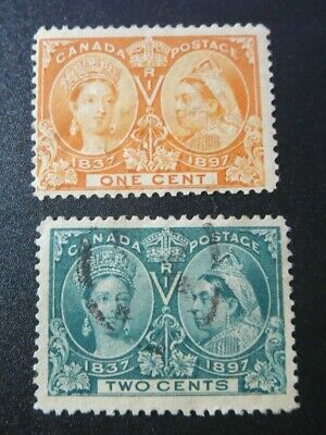 Canada Stamps Used #51-52 1897--Qv Diamond Jubilee Issues---